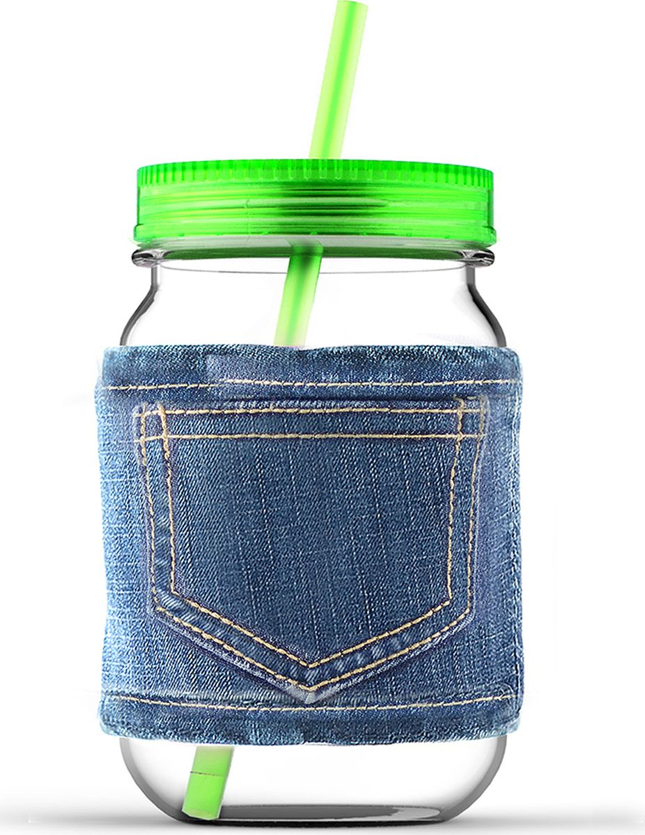 Кружка Asobu Jeans jar, цвет: зеленый, 750 млMJ05 greenКружка Asobu Jeans jar для молодых и стильных! Кружки от Asobu ярких и сочных цветов для Ваших самых любимых напитков. Эту кружку многое выделяет среди остальных. Во-первых, ее форма, согласитесь, кружка в виде банки, это оригинально! Во-вторых, ее цвет, который не может не обратить на себя внимания - яркий и сочный, отлично подойдет для любого сезона. В-третьих, необычный джинсовый чехол, который позволит пить Вам даже горячие напитки, не обжигая рук, а также сохранит напиток горячим дольше. Особенности: Съемный джинсовый чехол.Соломинка в комплекте.Крышка в комплекте.750 мл.