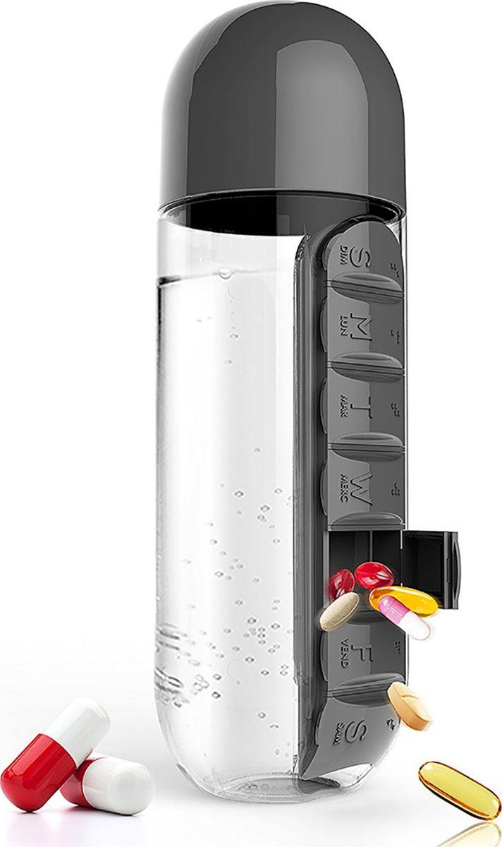 Бутылка Asobu In style pill organizer bottle, цвет: черный, 600 мл бутылка 0 4 л asobu ice t 2 go фиолетовая it2go violet