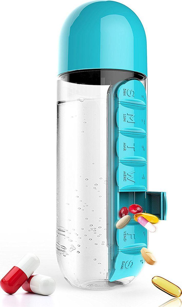 Бутылка Asobu  In style pill organizer bottle , цвет: голубой, 600 мл - Туристическая посуда