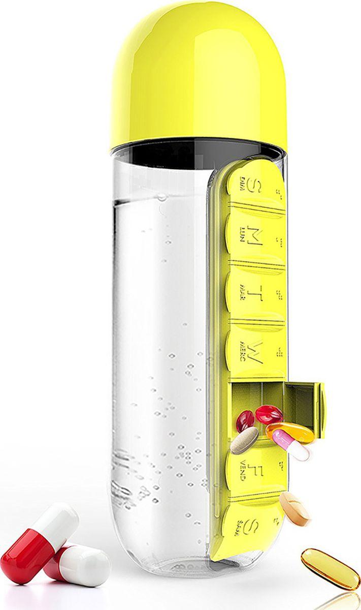 Бутылка Asobu In style pill organizer bottle, цвет: желтый, 600 млPB55 yellowБутылка Asobu In style pill organizer bottle заинтересует вас с первого взгляда. Все потому, что «In Style» - бутылка воды в сочетании с органайзером для таблеток. С таким аксессуаром Вам больше не нужно будет искать воду, чтобы принять необходимые лекарства. Бутылка «In Style» - практичный и современный способ сохранить ваши таблетки и воду вместе. Это особенно удобно, если Вы находитесь в дороге.Умная бутылка воды «In Style» оснащена встроенным органайзером для медикаментов с семью разделами. Если же Вам не нужен в данный момент органайзер, Вы можете легко его снять, просто сдвинув и потянув в сторону.Особенности:Органайзер для таблеток.Крышка бутылки может быть использована, как кружка для запивания лекарств.Коробка.Материал: ПластикВысота : 24 смДиаметр : 8 см