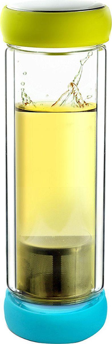 Термобутылка Asobu Twin lid, цвет: желтый, голубой, 400 млTWG1 teal-limeAsobu - бренд посуды для питья, выделяющийся творческим, оригинальным дизайном и инновационными решениями.Asobu разработан Ad-N-Art в Канаде и в переводе с японского означает «весело и с удовольствием». И действительно, только взгляните на каталог представленных коллекций и вы поймете, что Asobu - посуда, которая вдохновляет!Кроме яркого и позитивного дизайна, Asobu отличается и качеством материалов из которых изготовлена продукция - это всегда чрезвычайно ударопрочный пластик и 100% BPA Free.За последние 5 лет, благодаря своему дизайну и функциональности, Asobu завоевали популярность не только в Канаде и США, но и во всем мире!Термобутылка Asobu Twin lid представляет собой сочетание современного искусства с функциональным дизайном. Двустенная стеклянная бутылка для чая или любого другого напитка.Герметичные красочные крышки, делают Twin lid приятным и удобным в использовании даже если вы находитесь в спешке.Twin lid прост в использовании, просто вскипятите воду, а затем добавьте свой любимый чай в фильтр из нержавеющей стали, вставьте фильтр в крышку с фиксатором и закрутите крышку. Налейте горячую воду в противоположную сторону и плотно закройте. Наслаждайтесь!Высота: 23 смДиаметр: 8 см