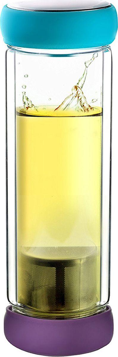 Термобутылка Asobu Twin lid, цвет: голубой, фиолетовый, 400 млTWG1 teal-purpleAsobu – бренд посуды для питья, выделяющийся творческим, оригинальным дизайном и инновационными решениями.Asobu разработан Ad-N-Art в Канаде и в переводе с японского означает «весело и с удовольствием». И действительно, только взгляните на каталог представленных коллекций и вы поймете, что Asobu - посуда, которая вдохновляет!Кроме яркого и позитивного дизайна, Asobu отличается и качеством материалов из которых изготовлена продукция – это всегда чрезвычайно ударопрочный пластик и 100% BPA Free.За последние 5 лет, благодаря своему дизайну и функциональности, Asobu завоевали популярность не только в Канаде и США, но и во всем мире!Термобутылка Asobu Twin lid представляет собой сочетание современного искусства с функциональным дизайном. Двустенная стеклянная бутылка для чая или любого другого напитка.Герметичные красочные крышки, делают Twin lid приятным и удобным в использовании даже если вы находитесь в спешке.Twin lid прост в использовании, просто вскипятите воду, а затем добавьте свой любимый чай в фильтр из нержавеющей стали, вставьте фильтр в крышку с фиксатором и закрутите крышку. Налейте горячую воду в противоположную сторону и плотно закройте. Наслаждайтесь!Высота: 23 смДиаметр: 8 см