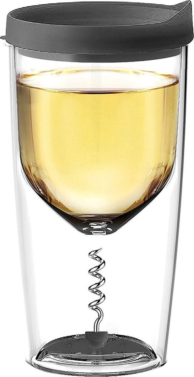 Стакан Asobu Vino opener, цвет: черный, 350 мл термокружка asobu ice vino 2go 0 48 л зеленая iv2g green