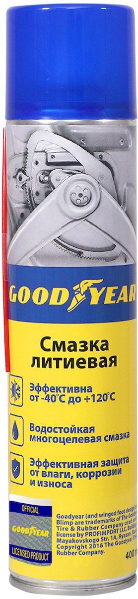 Смазка литиевая Goodyear, аэрозоль, 400 млGY000702Литиевая смазка Goodyear препятствует окислению соединений и способствует стабильной работе без скрипа и заклинивания. Влагостойкая многоцелевая смазка, эффективная защита от влаги, коррозии и износа. Эффективность при -40 ?С - +120 ?С.