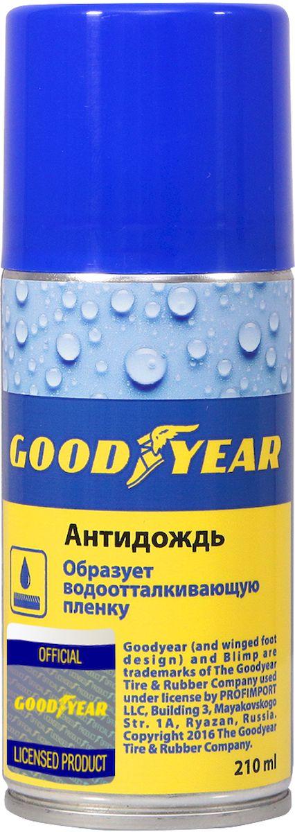 Антидождь Goodyear, аэрозоль, 210 млGY000708Средство Антидождь Goodyear предназначен для обработки стекол, фар, зеркал заднего вида автомобиля, а также пластиковых визоров мотоциклетных шлемов. Легко наносится, стойкое защитное покрытие, эффект самоочистки от капель и грязи, средство безопасно для лако-красочного покрытия.Объем: 210 мл.