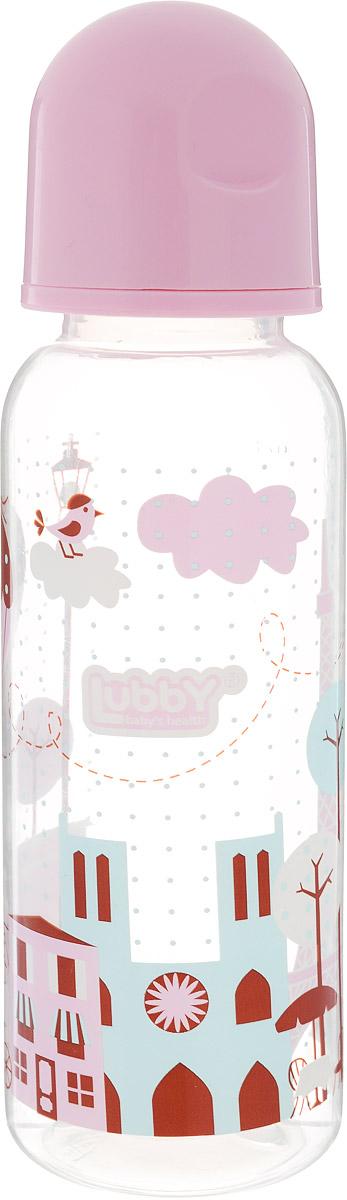 Lubby Бутылочка для кормления с силиконовой соской Я люблю от 0 месяцев цвет розовый 250 мл lubby бутылочка для кормления русские мотивы с ручками от 0 месяцев цвет оранжевый 250 мл