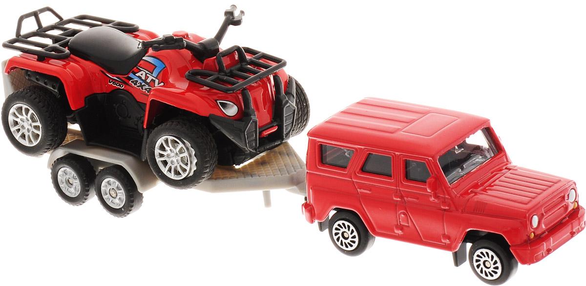 ТехноПарк Набор машинок УАЗ с красным квадроциклом на прицепе технопарк набор машинок камаз эвакуатор уаз хантер 2 шт