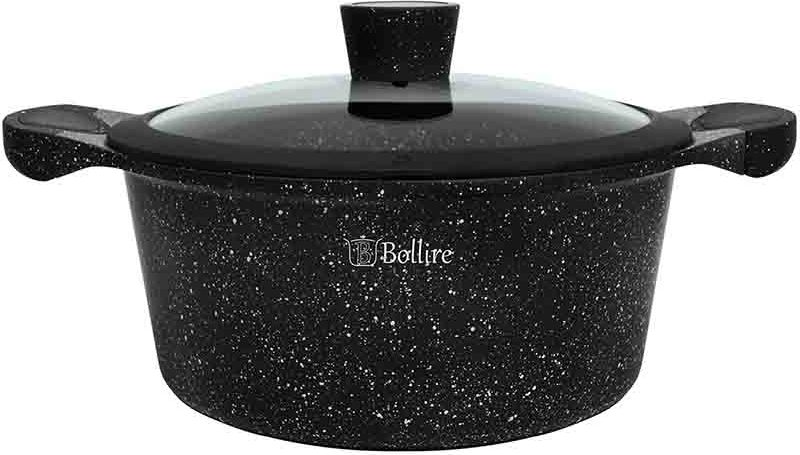 Кастрюля Bollire Milano, с крышкой, с антипригарным покрытием, 4,3 лBR-1103 мягкая ручка и кнопка на крышке полностью индукционное дно не требует большого количества масла