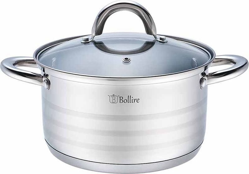 Кастрюля Bollire с крышкой, 6,5 л сковорода bollire br 1005 venezia
