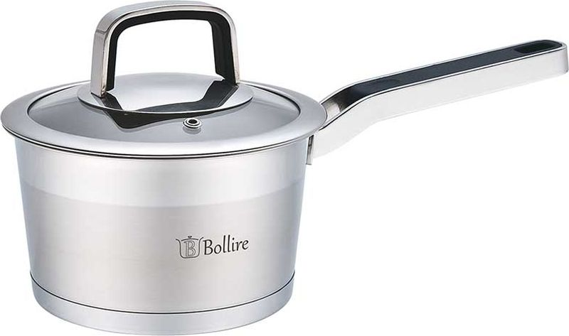 Ковш Bollire, с крышкой, 1,6 л. Диаметр 16 смBR-2101Ковш Bollire изготовлен из высококачественной нержавеющей стали. Капсулированное дно с вплавленной алюминиевой прослойкой позволяет равномерно распределять и значительно дольше сохранять тепло в посуде, а также предотвращает пригорание пищи и обеспечивает более быстрое приготовление блюд с сохранением вкусовых и полезных свойств продуктов.Удобная ненагревающаяся ручка, выполненная из нержавеющей стали, надежно крепится к корпусу ковша. Крышка, выполненная из термостойкого стекла, позволит вам следить за процессом приготовления пищи. Она имеет отверстие для выхода пара и металлический обод. Крышка плотно прилегает к краю кастрюли, предотвращая проливание жидкости и сохраняя аромат блюд. Ковш подходит для использования на всех типах плит, включая индукционные.
