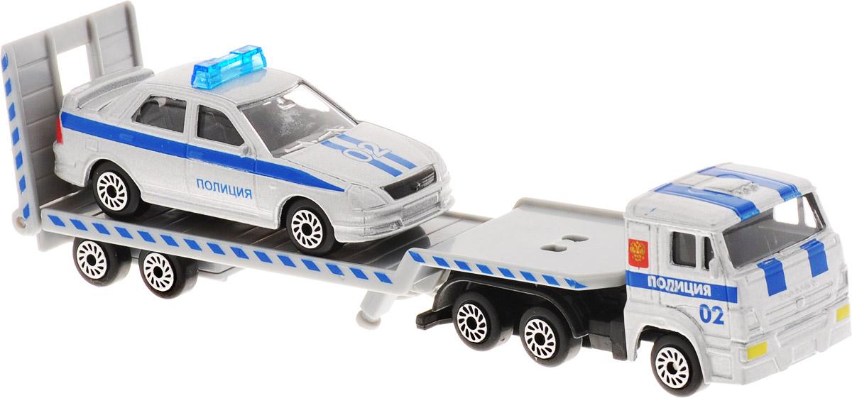 ТехноПарк Набор машинок КамАЗ Транспортер с ВАЗом Полиция 2 шт технопарк набор машинок транспортер военный камаз с лодкой 2 шт