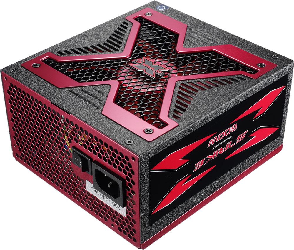 Aerocool Strike-X 600 блок питания для компьютераSTRIKE-X 600Aerocool Strike-X 600 - блок питания в стильном корпусе с эмблемой Strike-X, способный выдержать длительную нагрузку. Имеет сертификат эффективности 80Plus Bronze. Поддерживает двухъядерные процессоры, технологии ATICrossFire и NVIDIA SLI, а также многоядерные графические процессоры для видеокарт на основе любых технологий.Кабели 20+4 pin, 8 pin и 4+4 pin (для процессора) длиной до 550 мм обеспечивают удобство подключения компонентов в любой части. Также имеет 2 коннектора PCIe 6+2 pin для видеокарт и 6 коннекторов SATA для подключения нескольких жёстких дисков. Оснащен бесшумным и мощным 13,9-см вентилятором с умной системой управления скоростью. Теперь при обычной нагрузке вентилятор работает на малых оборотах и практически не шумит. L-образный радиатор увеличивает площадь рассеивания тепла. Преобразователь постоянного тока для выходного напряжения в 3,3 и 5 В повышает эффективность работы БП.Блок питания Aerocool Strike-X 800 защищён от перегрузки по мощности и по напряжению, от низкого напряжения, от короткого замыкания в сети и от перегрева.