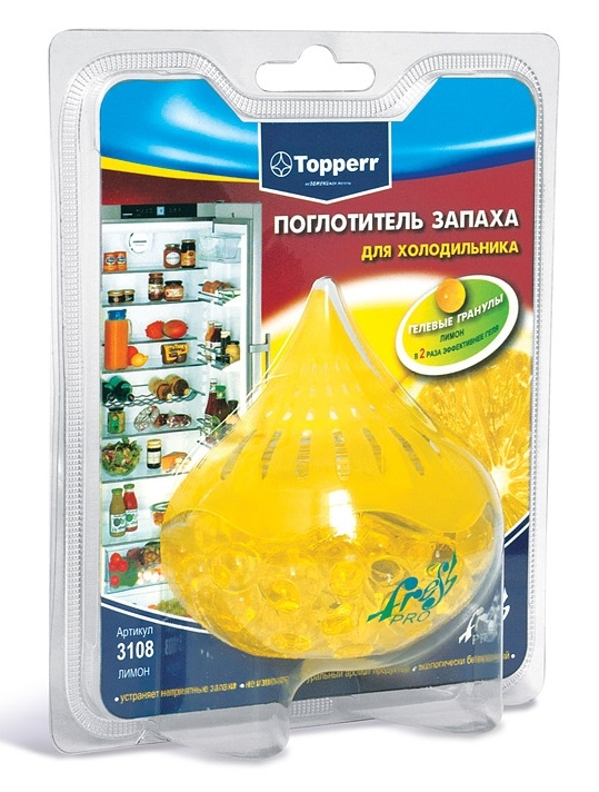 Поглотитель запаха для холодильника Topperr Лимон, гелевый поглотитель запахов frigo 3000 для холодильника