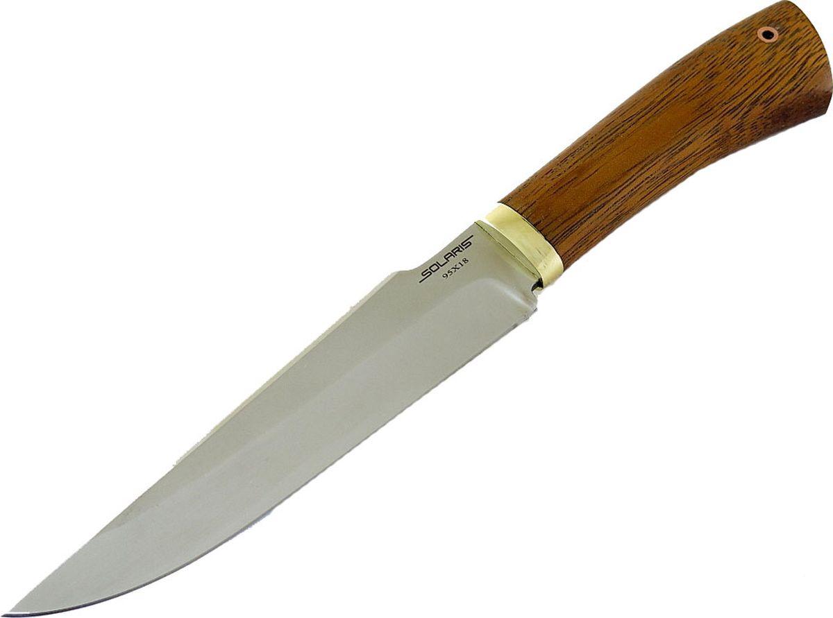 Нож Solaris Сармат, длина клинка 17 см001714Большой нож с массивным длинным клинком из нержавеющей стали. Удобно использовать приохоте на крупную дичь, в туристическом лагере, а также для эксплуатации в тяжёлых условиях. Выступ на обухе клинка около рукояти образует упор для большого пальца и позволяетперехватить нож ближе к лезвию для производства мелких работ.Вогнутые спуски обеспечивают отличный баланс между прочностью клинка и режущимисвойствами.Массивная рукоять с бочкообразным сечением надёжно фиксируется в руке, смещение хвостовойчасти рукояти книзу создаёт дополнительный упор для ладони.