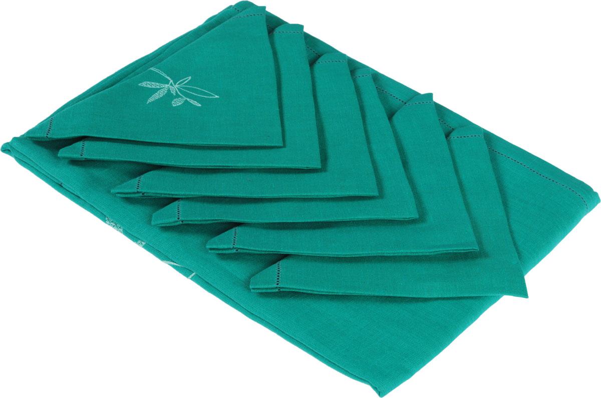 Комплект столовый Гаврилов-Ямский Лен, цвет: циановый, белый, 7 предметов. 5со39695со3969_циановый, белыйСтоловый комплект Гаврилов-Ямский Лен, выполненный из 100% льна, состоит из скатерти и шести салфеток и декорирован вышивкой.Лён - поистине, уникальный экологически чистый материал. Изделия из льна обладают уникальными потребительскими свойствами. Такой комплект порадует вас невероятно долгим сроком службы.Столовый комплект Гаврилов-Ямский Лен придаст вашему дому уют и тепло. Размер скатерти: 140 х 180 см.Размер салфетки: 42 х 42 см.