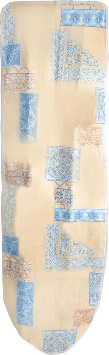 Чехол для гладильной доски Eva Цветочные узоры, с поролоном, цвет: бежевый, синий, белый, 120 х 38 см чехол для гладильной доски brabantia ящерица с войлоком 124 см х 38 см цвет голубой 265006