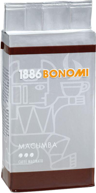Bonomi Macumba кофе молотый, 250 гCBNM00-000013Сделано из лучших в мире сортов арабики, одна из старейших традиционных смесей Бономи. Обжарка темная, превосходный баланс горчинки и кислинки. Производство Италия.
