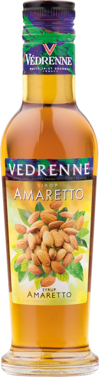 Vedrenne амаретто сироп, 250 мл12167В настоящее время компания Vedrenne считается одним из лучших производителей высококлассных сиропов, отличающихся натуральным вкусом, а также насыщенным ароматом и глубоким цветом. Фруктовые сиропы Vedrenne пользуются большой популярностью не только во Франции (где их широко используют как в сегменте HoReCa, так и в домашних условиях), но и экспортируются более чем в 50 стран мира.Сиропы изготавливаются на основе натурального растительного сырья, фруктовых и ягодных соков прямого отжима, цитрусовых настоев, а также с использованием очищенной воды без вредных примесей, что позволяет выдержать все ценные и полезные свойства натуральных фруктово-ягодных плодов и трав. В состав сиропов входит только натуральный сахар, произведенный по традиционной технологии из сахарозы.Благодаря высокому содержанию концентрированного фруктового сока сиропы Vedrenne обладают изысканным ароматом и натуральным вкусом, являются эффективным подсластителем при незначительной калорийности. Они оптимизируют уровень влажности и процесс кристаллизации десертов, хорошо смешиваются с другими ингредиентами и способствуют улучшению вкусовых качеств напитков и десертов.Сиропы Vedrenne разливаются в стеклянные бутылки с яркими этикетками, на которых изображен фрукт, ягода или другой ингредиент, определяющий вкусовые оттенки того или иного продукта Vedrenne. Емкости с сиропами Vedrenne герметичны и поэтому не позволяют содержимому контактировать с микроорганизмами и другими губительными внешними воздействиями. Кроме того, стеклянные бутылки выглядят оригинально и стильно. Сироп Амаретто – изысканный напиток для самых утонченных ценителей экзотических вкусоароматов. Он представляет собой густую аппетитную консистенцию с яркими оттенками всемирно известного итальянского ликера Амаретто. Сироп Амаретто изготавливается на основе отборных спелых абрикосов с добавлением ароматных восточных пряностей.Кроме того, в сироп добавляют очищенную родниковую воду и сахар. Сироп Ама