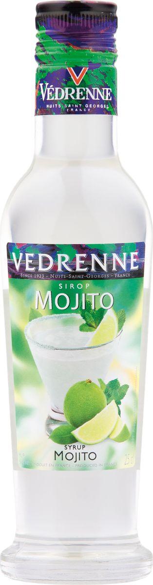 Vedrenne мохито сироп, 250 мл12127В настоящее время компания Vedrenne считается одним из лучших производителей высококлассных сиропов, отличающихся натуральным вкусом, а также насыщенным ароматом и глубоким цветом. Фруктовые сиропы Vedrenne пользуются большой популярностью не только во Франции (где их широко используют как в сегменте HoReCa, так и в домашних условиях), но и экспортируются более чем в 50 стран мира.Сиропы изготавливаются на основе натурального растительного сырья, фруктовых и ягодных соков прямого отжима, цитрусовых настоев, а также с использованием очищенной воды без вредных примесей, что позволяет выдержать все ценные и полезные свойства натуральных фруктово-ягодных плодов и трав. В состав сиропов входит только натуральный сахар, произведенный по традиционной технологии из сахарозы.Благодаря высокому содержанию концентрированного фруктового сока сиропы Vedrenne обладают изысканным ароматом и натуральным вкусом, являются эффективным подсластителем при незначительной калорийности. Они оптимизируют уровень влажности и процесс кристаллизации десертов, хорошо смешиваются с другими ингредиентами и способствуют улучшению вкусовых качеств напитков и десертов.Сиропы Vedrenne разливаются в стеклянные бутылки с яркими этикетками, на которых изображен фрукт, ягода или другой ингредиент, определяющий вкусовые оттенки того или иного продукта Vedrenne. Емкости с сиропами Vedrenne герметичны и поэтому не позволяют содержимому контактировать с микроорганизмами и другими губительными внешними воздействиями. Кроме того, стеклянные бутылки выглядят оригинально и стильно. Сироп Мохито - это незаменимый помощник любого бармена или кондитера. На основе данного лакомства можно приготовить огромное количество очаровательных десертов и неповторимых напитков. Просто добавив сироп в газировку, вы получите уникальный безалкогольный коктейль с яркими мятными оттенками и изысканными сладкими нотами! Экспериментировать можно бесконечно: лимонад, холодный чай или обыкновенное слив