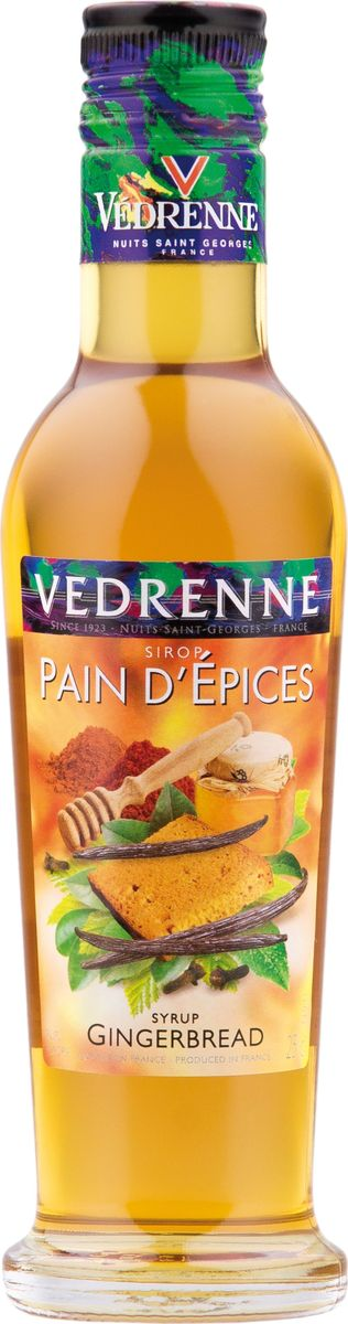 Vedrenne имбирный пряник сироп, 250 мл12173В настоящее время компания Vedrenne считается одним из лучших производителей высококлассных сиропов, отличающихся натуральным вкусом, а также насыщенным ароматом и глубоким цветом. Фруктовые сиропы Vedrenne пользуются большой популярностью не только во Франции (где их широко используют как в сегменте HoReCa, так и в домашних условиях), но и экспортируются более чем в 50 стран мира.Сиропы изготавливаются на основе натурального растительного сырья, фруктовых и ягодных соков прямого отжима, цитрусовых настоев, а также с использованием очищенной воды без вредных примесей, что позволяет выдержать все ценные и полезные свойства натуральных фруктово-ягодных плодов и трав. В состав сиропов входит только натуральный сахар, произведенный по традиционной технологии из сахарозы.Благодаря высокому содержанию концентрированного фруктового сока сиропы Vedrenne обладают изысканным ароматом и натуральным вкусом, являются эффективным подсластителем при незначительной калорийности. Они оптимизируют уровень влажности и процесс кристаллизации десертов, хорошо смешиваются с другими ингредиентами и способствуют улучшению вкусовых качеств напитков и десертов.Сиропы Vedrenne разливаются в стеклянные бутылки с яркими этикетками, на которых изображен фрукт, ягода или другой ингредиент, определяющий вкусовые оттенки того или иного продукта Vedrenne. Емкости с сиропами Vedrenne герметичны и поэтому не позволяют содержимому контактировать с микроорганизмами и другими губительными внешними воздействиями. Кроме того, стеклянные бутылки выглядят оригинально и стильно. Сироп Имбирный пряник откроет вам настоящий дух Рождества. Производят этот сироп из экстракта корня имбиря, который растет в Индии, Африке, Китае и Австралии. Сладость можно использовать в качестве основы для множества коктейлей, в том числе слоеных и молочных, а также для пропиток тортов, пирожных, фруктовых салатов.Цвет: желто-золотистый, с янтарным оттенком. Аромат: теплый, сладкий, пряный