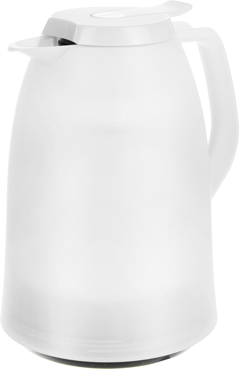 Термос-чайник Emsa Mambo, цвет: белый, 1 л514507Термос-чайник Emsa Mambo позволит насладиться вашим любимым напитком, сохранив его аромат и вкус. Благодаря стеклянной колбе напиток остается горячим 12 часов, а холодным - 24 часа. Корпус выполнен из прочного пластика. Крышка плотно и герметично закрывается, а удобная ручка гарантирует безопасность во время использования. Чтобы налить напиток, крышку не нужно откручивать каждый раз, она снабжена специальным клапаном, поэтому легко открывается одним нажатием кнопки. Специальный носик обеспечивает удобный разлив напитка по порциям. Такой термос идеален для перерыва на чай или кофе. Высота термоса: 21,5 см. Диаметр (по верхнему краю): 8,5 см.Диаметр горлышка: 4 см.