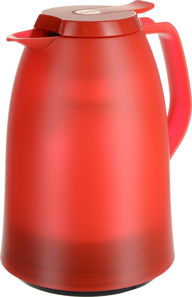Термос-чайник Emsa Mambo, цвет: красный, 1 л514503Термос-чайник Emsa Mambo позволит насладиться вашим любимым напитком, сохранив его аромат и вкус. Благодаря стеклянной колбе напиток остается горячим 12 часов, а холодным - 24 часа. Корпус выполнен из прочного пластика. Крышка плотно и герметично закрывается, а удобная ручка гарантирует безопасность во время использования. Чтобы налить напиток, крышку не нужно откручивать каждый раз, она снабжена специальным клапаном, поэтому легко открывается одним нажатием кнопки. Специальный носик обеспечивает удобный разлив напитка по порциям. Такой термос идеален для перерыва на чай или кофе. Высота термоса: 21,5 см. Диаметр (по верхнему краю): 8,5 см.Диаметр горлышка: 4 см.