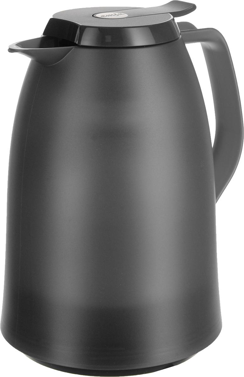 Термос-чайник Emsa Mambo, цвет: антрацит, 1 л514504Термос-чайник Emsa Mambo позволит насладиться вашим любимым напитком, сохранив его аромат и вкус. Благодаря стеклянной колбе напиток остается горячим 12 часов, а холодным - 24 часа. Корпус выполнен из прочного пластика. Крышка плотно и герметично закрывается, а удобная ручка гарантирует безопасность во время использования. Чтобы налить напиток, крышку не нужно откручивать каждый раз, она снабжена специальным клапаном, поэтому легко открывается одним нажатием кнопки. Специальный носик обеспечивает удобный разлив напитка по порциям. Такой термос идеален для перерыва на чай или кофе. Высота термоса: 21,5 см. Диаметр (по верхнему краю): 8,5 см.Диаметр горлышка: 4 см.