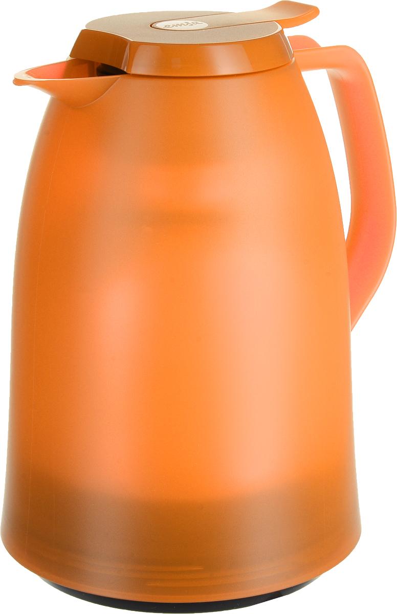 Термос-чайник Emsa Mambo, цвет: оранжевый, 1 л514508Термос-чайник Emsa Mambo позволит насладиться вашим любимым напитком, сохранив его аромат и вкус. Благодаря стеклянной колбе напиток остается горячим 12 часов, а холодным - 24 часа. Корпус выполнен из прочного пластика. Крышка плотно и герметично закрывается, а удобная ручка гарантирует безопасность во время использования. Чтобы налить напиток, крышку не нужно откручивать каждый раз, она снабжена специальным клапаном, поэтому легко открывается одним нажатием кнопки. Специальный носик обеспечивает удобный разлив напитка по порциям. Такой термос идеален для перерыва на чай или кофе. Высота термоса: 21,5 см. Диаметр (по верхнему краю): 8,5 см.Диаметр горлышка: 4 см.