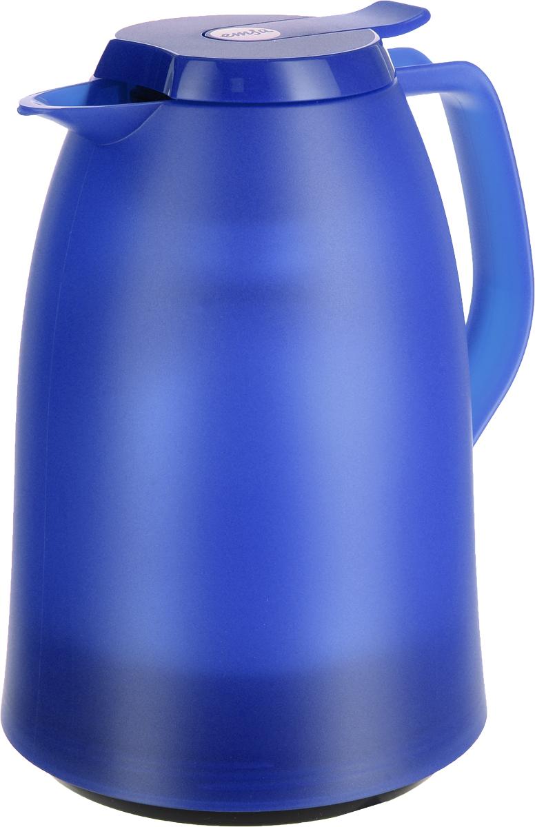 Термос-чайник Emsa Mambo, цвет: синий, 1 л514506Термос-чайник Emsa Mambo позволит насладиться вашим любимым напитком, сохранив его аромат и вкус. Благодаря стеклянной колбе напиток остается горячим 12 часов, а холодным - 24 часа. Корпус выполнен из прочного пластика. Крышка плотно и герметично закрывается, а удобная ручка гарантирует безопасность во время использования. Чтобы налить напиток, крышку не нужно откручивать каждый раз, она легко открывается одним нажатием кнопки. Носик обеспечивает удобный разлив напитка по порциям. Такой термос идеален для перерыва на чай или кофе. Высота термоса: 21 см. Диаметр (по верхнему краю): 8,5 см.