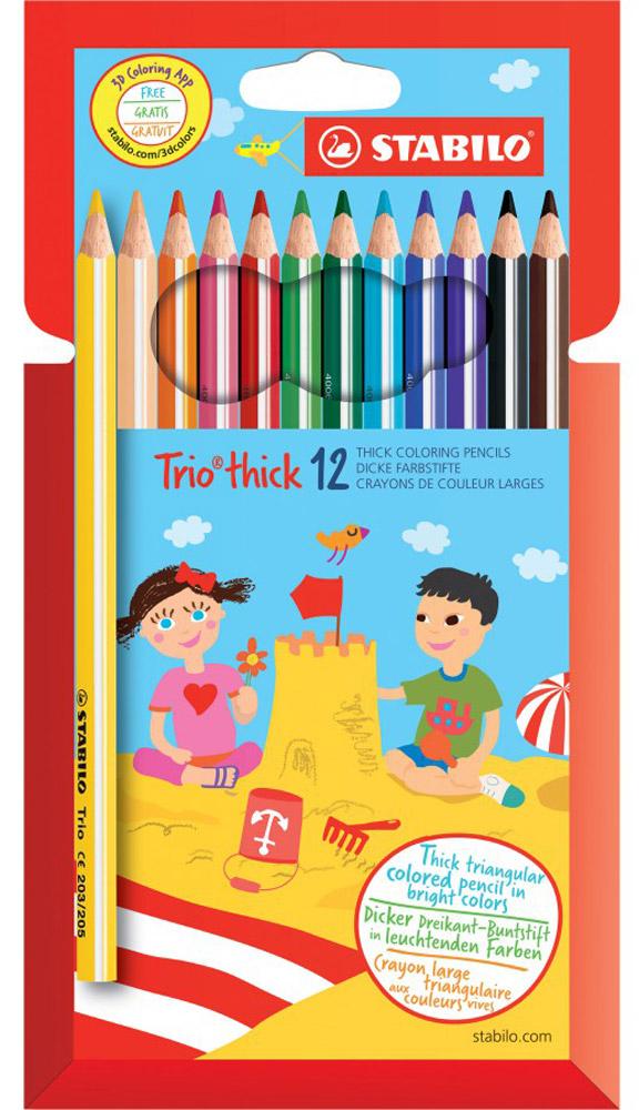 Stabilo Набор цветных карандашей Trio 12 цветов203/12-01Серия утолщенных трехгранных цветных карандашей Stabilo Trio. Трехгранная форма карандашапредотвращает усталость детской руки при рисовании и позволяет привить ребенку навыкправильно держать пишущий инструмент. Подходят для правшей и для левшей. Утолщенныйгрифель, особо устойчивый к поломкам. В состав грифелей входит пчелиный воск, благодарячему карандаши легко рисуют на бумаге, не царапая ее и не крошась.Уважаемые клиенты! Обращаем ваше внимание на то, что упаковка может иметь несколько видов дизайна.Поставка осуществляется в зависимости от наличия на складе.