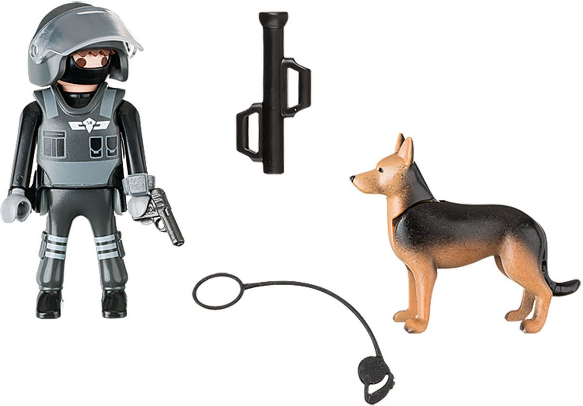 Playmobil Игровой набор Полицейский спецназовец с собакой