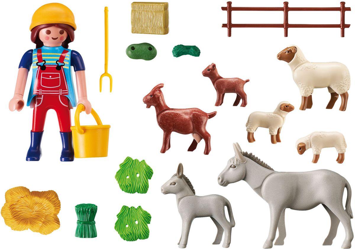 Playmobil Игровой набор Фермер с домашними животными tomy набор овцы в загоне с 3 лет