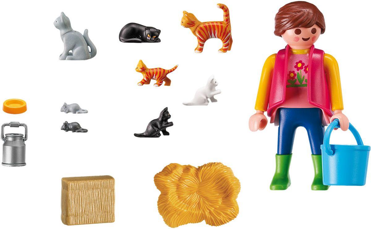 Playmobil Игровой набор Ферма Женщина с семейством кошек