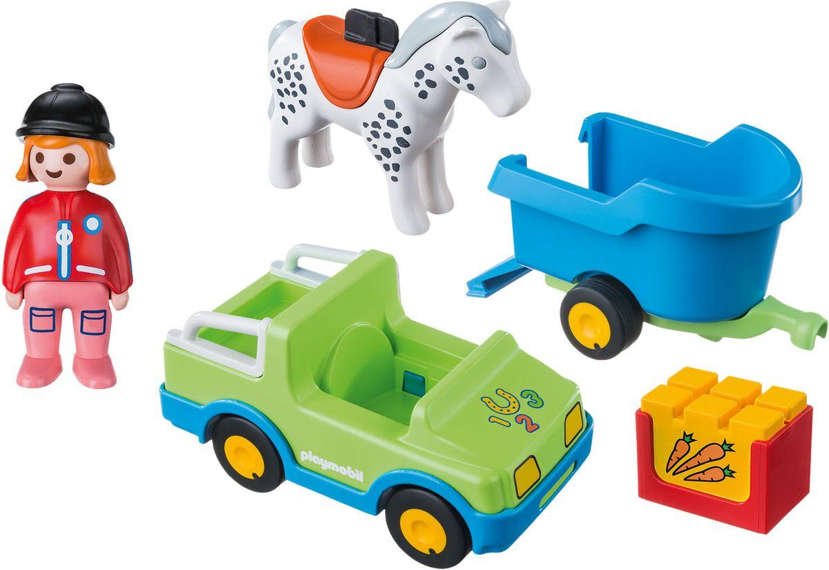 Playmobil Игровой набор Автомобиль с коневозкой - Игровые наборы