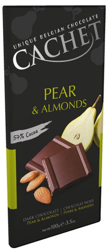 Cachet шоколад темный со вкусом и ароматом груши и миндалем 57% какао, 100 гМС-00007458Шоколад темный со вкусом и ароматом груши и миндаля - истинное удовольствие для любителей шоколада. Великолепен в сочетании с кофе и коньяком. Продукция компании популярна во всем мире благодаря своему высокому качеству и изысканному дизайну. Вся продукция Kim's Chocolates NV изготавливается по оригинальной старинной бельгийской рецептуре, которая придает шоколаду незабываемый и неповторимый вкус.Лучшие ингредиенты, современные технологии и строгий контроль на всех этапах производства гарантируют высокое качество продукцииKim's Chocolates NV.