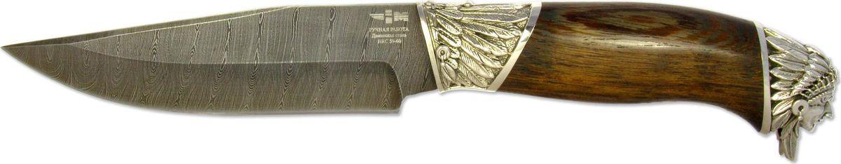 Нож нескладной Ножемир Куница Индеец, дамасская сталь, с ножнами, общая длина 28 см ножемир н 222 нескладной