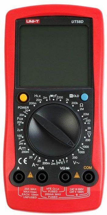 Универсальный мультиметр UT 58B13-1022UT58B - это профессиональный мультиметр с современный и эргономичным дизайном. Предназначен прибор, для измерений постоянного ипеременного напряжения, сопротивления, постоянного и переменного тока. Кроме того он имеет функции измерения электрической емкости итемпературы, а так же с его помощью вы сможете тестировать диоды и проводить прозвонку целостности цепи. Данный прибор обладаетвысоким классом точности показаний. Дисплей прибора оснащен подсветкой, которая позволяет проводить измерения даже вслабоосвещенных местах. Широкий функционал мультиметра UT50B позволяет обходиться без других вспомогательных устройств. Прибороснащен функцией Data hold, и зафиксировав результат измерений, вы в любое время сможете считать полученный значение. Приборизготовлен из высококачественных материалов. Калибровка и тестирование приборов произведено под контролем компании REXANTINTERNATIONAL. Инженеры старались сделать прибор максимально удобным для использования, и сужение в нижней области корпусапозволяет удобнее располагать прибор в одной руке, а шероховатость корпуса предотвращает выскальзывание. Все переключения удобнопроизводить даже одной рукой но несмотря на это у прибора усиленный поворотный регулятор, благодаря которому исключается возможностьслучайного нажатия.Характеристики:Постоянное напряжение: 200мВ/2В/20В/200В/1000В: ± (0. 5% + 1)Переменное напряжение: 2В/20В/200В/750В: ±(0.8%+3)Постоянный ток:2 мА / 20мA / 200 мА / 20А / 20А (0,8%+1)Переменный ток: 2 мА / 200 мА / 20А (1%+3)Сопротивление: 200 Oм/2kOм/20kOм/2мOм/20мOм/200мOм (0,8%+1)Емкость: 2нФ/200нФ/100мФ (4%+3)Температура: -40°C ~ +1000°CДисплей: 2000Ручная установка диапазона измеренийТестирование диодовАвто выключениеРежим удержания измерений Data holdПрозвонка целостности цепи Индикатор разряда батареиИмпеданс: около 10МОмРазмер (мм): 179 x 88 x 39 Тип батареи: 9В батарея.