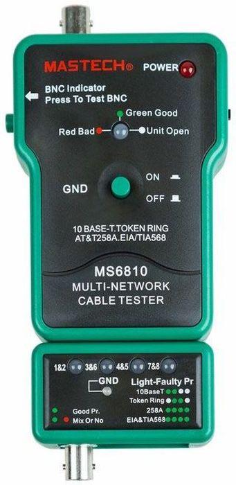 Тестер с генератором сигнала Mastech MS681013-1222MASTECH MS6810 - многофункциональный сетевой тестер кабеля может использоваться для проверки коаксиальных кабелей (BNC), неэкранированных кабелей типа «витая пара» (UTP), экранированных кабелей типа «витая пара» (STP). Автоматически проверяет наличие обрывов, коротких замыканий, перестановки и реверса пар. ХАРАКТЕРИСТИКИ: Проверка коаксиальных кабелей (BNC) Проверка экранированного и неэкранированного кабеля на основе скрученных пар («витая пара» RJ45) на соответствие стандартам T568A, T568B, 10Base-T и Token Ring Высокоскоростная проверка Удобная диагностика ошибок на дисплее Спящий режим Режим автоматического отключения питания Светодиодный индикатор уровня низкой зарядки батареи Размер тестера 110 х 70 х 25 мм, съемного терминала - 60 х 35 х 25 мм Прибор состоит из основного и съемного блоков. В нерабочем состоянии съемный блок хранится пристегнутым к основному блоку.Комплектация: нейлоновый чехол, инструкция