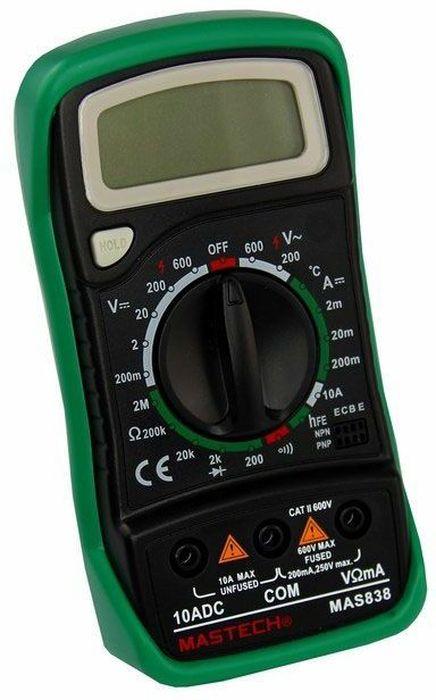 Портативный мультиметр Mastech MAS83813-2008Мультиметр портативный Mastech - электроизмерительный прибор, который включает в себя несколько функций и набор измеряемых параметров. Все приборы данной серии измеряют постоянное и переменное напряжение, постоянный ток, сопротивление в цепи и даже температуру. А так же с помощью данного прибора можно проводить тестирование диодов и прозвонку целостности цепи. Прибор является портативным мультиметром, компактные размеры позволяют всегда носить его с собой. Но, несмотря на малые размеры, данный мультиметр обладает широким функционалом и это выгодно отличает его от других. Прибор имеет функцию удержания результата измерений Data hold, для тех случаев, когда измерения проводятся в труднодоступных местах и не всегда есть возможность взглянуть на экран. Инженеры старались сделать прибор максимально удобным для использования. Выбор измеряемых величин и пределов измерений производиться с помощью усиленного поворотного регулятора, благодаря которому исключается возможность случайного нажатия. Прибор изготовлен из высококачественных материалов, калибровка и тестирование приборов произведено под контролем компании REXANT INTERNATIONAL.Характеристики:Постоянное напряжение: 200mВ/2В/20м/200В (±0,5%+3), 600В (±0,8%+5).Переменное напряжение: 200В/600В (±1,2%+10).Постоянный ток: 20мкА/200мкА/2мА/20мА/200мА (±1,0%+3), 10A (±3,0%+10).Сопротивление: 200Ом/2КОм/20КОм/200КОм (±0,8%+2), 2МОм (±1,0%+5). Температура: от -20°С до 1000°С (±2,0%+2).Дисплей: 4х разрядный. Электрический импеданс: менее 50 Ом.Размер (см): 14,5 х 7,6 х 4.Тип батареи: 9В Крона