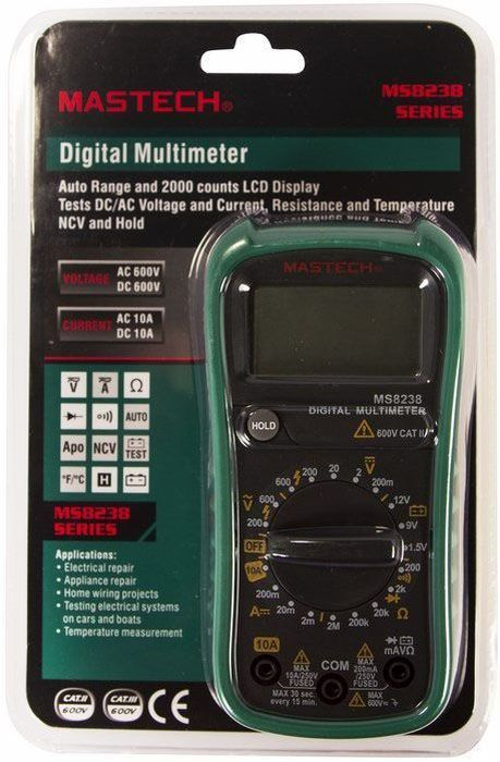 Мультиметр универсальный Mastech MS823813-2026Мультиметр - электроизмерительный прибор, который включает в себя несколько функций и набор измеряемыхпараметров. Все приборы данной серии измеряют постоянное и переменное напряжение, а так же постоянныйтоки сопротивление в цепи. А так же с помощью данного прибора можно проводить тестирование диодов иосуществлять прозвонку целостности цепи.Прибор является портативным мультиметром, компактныеразмеры позволяют всегда носить его с собой. Но, несмотря на малые размеры, данный мультиметр обладаетшироким функционалом и это выгодно отличает его от других. Прибор имеет функцию удержания результатаизмерений Data hold, для тех случаев, когда измерения проводятся в труднодоступных местах и не всегда естьвозможность взглянуть на экран.Инженеры старались сделать прибор максимально удобным дляиспользования. Выбор измеряемых величин и пределов измерений производиться с помощью усиленногоповоротного регулятора, благодаря которому исключается возможность случайного нажатия. Приборизготовлениз высококачественных материалов, калибровка и тестирование приборов произведено под контролемкомпанииREXANT INTERNATIONAL.Характеристики:Постоянное напряжение: 200мВ/2В/20В/200В (±0,5%+2), 600В (±0,8%+5). Переменное напряжение: 200В/600В (1,0%+5). Постоянный ток: 200мA (±0,8%+3), 10А (±1,5%+3). Сопротивление: 200Ом/2КОм/20КОм/200КОм/2МОм (±0,8%+4).Дисплей: 4х разрядный.Электрический импеданс: менее 50 Ом. Размер (см): 18,8 х 9,3 х 5. Тип батареи: 9В типа Крона.