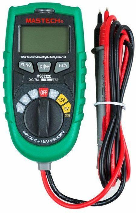 Мультиметр универсальный Mastech MS8332C13-2030Универсальный цифровой мультиметр последнего поколения Mastech предназначен для измерения переменного и постоянного тока AC/DC, переменного и постоянного напряжения AC/DC, а также сопротивления, емкости, частоты и скважности. Мультиметр оснащен функциями автоматического выбора диапазона измерения, тестирования диодов и проверки целостности цепи.Особенности: • Функции измерений: ток AC/DC, напряжение AC/DC, сопротивление, скважность, частота, емкость. • Функция автоматического выбора диапазона измерения. • Функция удержание текущих результатов измерения. • Яркая подсветка ЖКИ дисплея. • Тестирование диодов. • Функция прозвонки цепи. • Функция автоматического отключения питания при длительном простое прибора. • Индикатор низкого заряда батареи. • Соответствие стандартам безопасности: CAT.III 600V RoHS.Характеристики: Напряжение DC: 400мВ / 4В / 40В / 400В 0,8%+3 е.м.р. 600В 1,0%+5 е.м.р. Напряжение AC: 4В / 40В / 400В 1,0%+3 е.м.р. 600В 1,5%+5 е.м.р. Ток DC: 400мкА / 4мА / 40мА / 400мА. 1,8%+5 е.м.р. Ток AC: 400мкА / 4мА / 40мА / 400мА 2,0%+5 е.м.р. Сопротивление: 400Ом / 4кОм / 40кОм / 400кОм / 4MОм. 1,0%+3 е.м.р. 400MОм 1,2%+15 е.м.р. Частота: 10 - 5 МГц 1,5%+15 е.м.р. Емкость: 4 нФ 5,0%+0,6 е.м.р. 40нФ / 400нФ 4,0%+15 е.м.р. 4мкФ / 40мкФ / 100 мкФ 5,0%+25 е.м.р. Скважность: от 5 % до 95 %. Количество отсчетов: 6000. Питание батареи: 2 шт, х 1,5 В типа AAA. Размер (см): 12,2 x 6,1 x 4,1. Масса: 183 г.