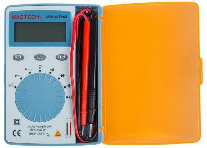 Мультиметр портативный Mastech MS821613-2040Портативный мультиметр Mastech профессионального уровня! Самый маленький и легкий, с широким спектромфункцийи специальным отделением для щупов.Общие данные: • Количество разрядов индикатора: 3, 3/4. • Измерение постоянного напряжения. • Измерение переменного напряжения. • Измерение сопротивления. • Измерение частоты. • Измерение электроемкости. • Тестирование диодов. • Тестирование транзисторов. • Автоматическое отключение. • Удерживание данных (Data Hold). • Размеры (см): 11 х 7,6 х 1,1. • Вес: 85 г. • Стандартные аксессуары: щупы, батарея, инструкция.Диапазоны измерений: Измерение постоянного напряжения DCV: 0.4 В – 4 В – 40 В – 400 В – 600 В.Измерение переменного напряжения ACV: 4 В – 40 В – 400 В – 600 В. Измерение сопротивления R: 400 Ом – 4 кОм – 40 кОм – 400 кОм – –4 МОм – 40 МОм. Измерение частоты F: 10 Ом – 100 Ом – 1 кГц – 10 кГц – 100 кГц. Измерение емкости C: 40 нФ – 400 нф – 4 мкФ – 40 мкФ – 200 мкФ.