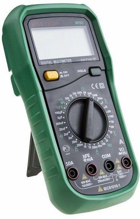Мультиметр универсальный Mastech MY6313-2051Мультиметр - электроизмерительный прибор, который включает в себя несколько функций и набор измеряемых параметров. Все приборы данной серии измеряют постоянное и переменное напряжение, а так же постоянный ток и сопротивление в цепи. А так же с помощью данного прибора можно проводить тестирование диодов и осуществлять прозвонку целостности цепи.Прибор является портативным мультиметром, компактные размеры позволяют всегда носить его с собой. Но, несмотря на малые размеры, данный мультиметр обладает широким функционалом и это выгодно отличает его от других. Прибор имеет функцию удержания результата измерений Data hold, для тех случаев, когда измерения проводятся в труднодоступных местах и не всегда есть возможность взглянуть на экран.Инженеры старались сделать прибор максимально удобным для использования. Выбор измеряемых величин и пределов измерений производиться с помощью усиленного поворотного регулятора, благодаря которому исключается возможность случайного нажатия. Прибор изготовлен из высококачественных материалов, калибровка и тестирование приборов произведено под контролем компании REXANT INTERNATIONAL. Комплект поставки: мультиметр, чехол, инструкция. Характеристики: Разрядность шкалы мультиметра: 2000 отсчетов. Постоянное напряжение: 200мВ/2В/20В/200В (±0.5%), 1000В ( ±0.8%). Переменное напряжение: 200мВ (±1.2%), 2В/20В/200В (±0.8%), 700В (±1.2%). Постоянный ток: 2мА/20мА (±0.8%), 200мА (±1.5%), 10А (±2.0%). Переменный ток: 2мА/20мА (±1.0%), 200мА (±0.8%), 10А (±3%). Сопротивление: 200Ом/2кОм/20кОм/200кОм/2МОм (±0.8%), 20МОм (±1.0%), 200МОм (±5.0%). Емкость конденсаторов: 2000нФ/20нФ/200нФ/2мкФ/20мкФ (±4.0%). Частота: 2кГц (±2.0%), 20кГц (±1.5%). Коэффициент усиления транзисторов(hFE): от 1 до 1000.