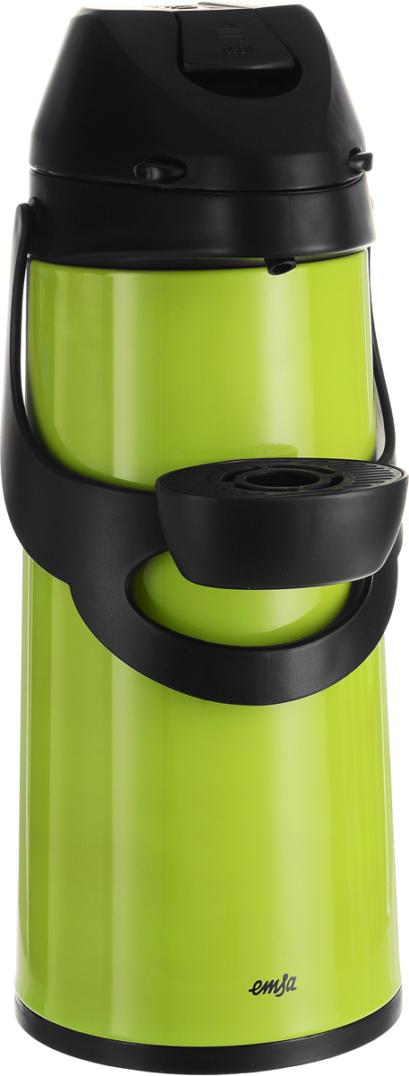Термос Emsa Pronto, с пневмонасосом, цвет: черный, зеленый, 1,9 л509036Термос Emsa Pronto изготовлен из высококачественной пищевой нержавеющей стали с современной технологией теплоизоляции. Высокая надежность и долговечность. Имеется вращающееся основание и двойная металлическая колба, способствующая более длительному сохранению тепла. Механизм с пневманасосом позволит без труда, с помощью одного нажатия на крышку термоса, налить содержимое в чашку. Термос удобен в использовании дома, на даче, в турпоходе и на рыбалке. Пригодится на работе, в офисе и командировке, экономит электроэнергию и время. Легко разбирается и моется.Диаметр основания: 14,5 см.Высота термоса: 38 см.Сохранение холода: 24 ч.Сохранение тепла: 12 ч.