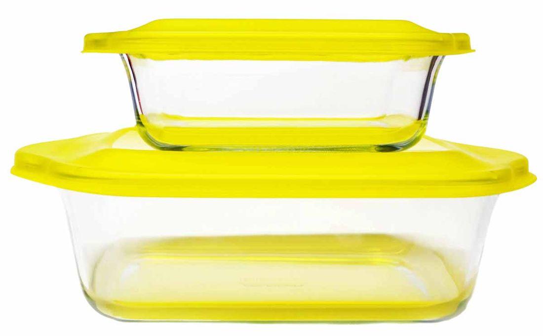Набор стеклянных форм для запекания Frybest, цвет: желтый, 2 шт2p set YellowНабор стеклянных форм для запекания Frybest объемом 1,1 л и 2,5 лПосуда из стекла не вступает в реакцию с готовящейся пищей, а потому не выделяет никаких вредных веществ, не подвергается воздействию кислот и солей. Из-за невысокой теплопроводности пища в ней гораздо медленнее остывает. В этой посуде вы будете с удовольствием готовить, легко контролируя процесс через прозрачное стекло.Вы сможете красиво сервировать стол, подав готовые блюда в элегантных стеклянных емкостях. А если необходимо, удобно разместите кастрюли и лотки в холодильнике (используя герметичные крышки).