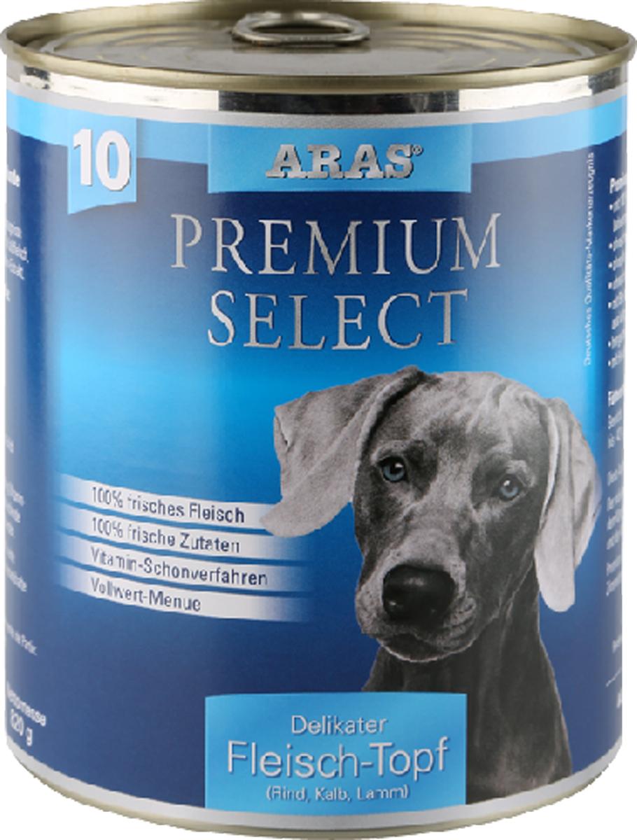 Консервы для собак Aras Premium Select, с говядиной, телятиной и бараниной, 820 г отсутствует блюда из мяса телятина говядина баранина свинина