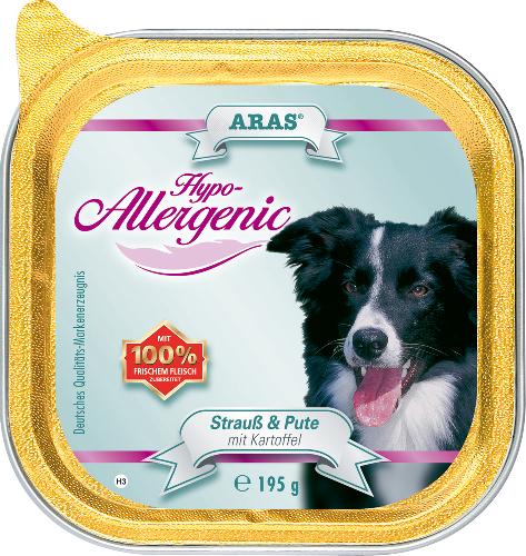 Консервы для собак Aras Hypo-Allergenic, гипоаллергенные, со страусом, индейкой и картофелем, 195 г консервы для собак aras hypo allergenic гипоаллергенные с бараниной и рисом 820 г