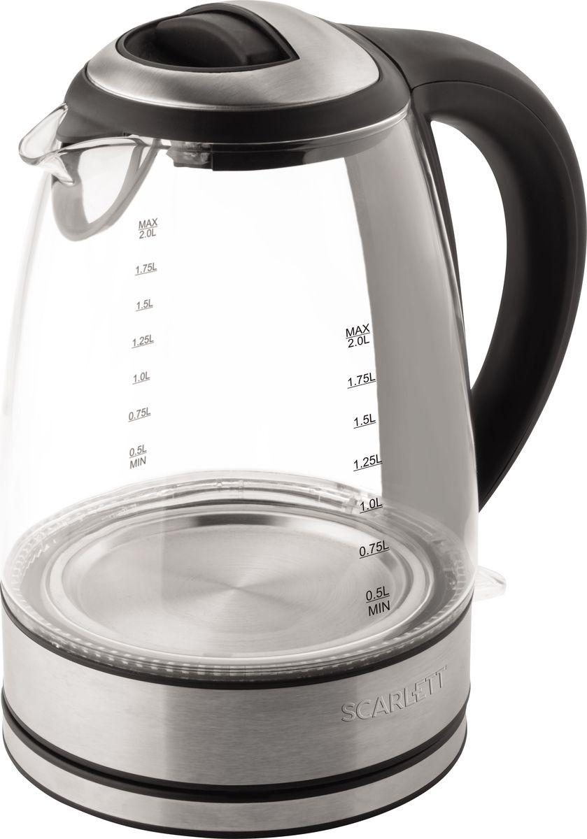Scarlett SC-EK27G18, Black чайник электрическийSC-EK27G18Электрический чайник Scarlett SC-EK27G18 достаточно компактный и отлично впишется в любой интерьер благодаря универсальному исполнению.Корпус выполнен из термостойкого стекла, закрытый нагревательный элемент и фильтр в носике выполнены из нержавеющей стали. Автоотключение при закипании и защита от включения при отсутствии воды гарантируют безопасность во время эксплуатации.