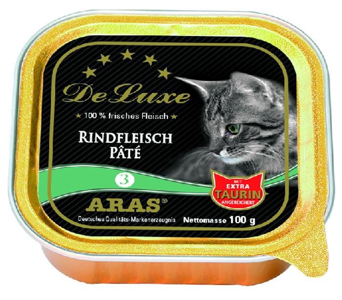 Консервы для кошек Aras Premium DeLuxe, паштет с говядиной, 100 г503103Консервы для кошек Aras Premium DeLuxe - корм для самых привередливых кошек, сочетающий в себе высокое качество ингредиентов, жизненно важные питательные вещества, а также превосходный вкус. Корм произведен в Германии по специальной технологии, схожей с технологией Sous Vide, из продуктов, пригодных в пищу человека. При изготовлении сохраняются все натуральные витамины и минералы. Это достигается благодаря бережной обработке всех ингредиентов при температуре менее 80°С. Такая бережная обработка продуктов не стерилизует продуктовые компоненты. Благодаря этому корма не нуждаются ни в каких дополнительных вкусовых добавках и сохраняют все необходимые полезные вещества. Особенности корма Aras Premium DeLuxe: - изготовлен из 100% свежего мяса; - без химических красителей, усилителей вкуса, искусственных консервантов и химических добавок; - из 100% свежих ингредиентов: мясо, овощи и зерновые; - сохранение натуральных витаминов в процессе изготовления; - гарантия свежести; - с дополнительной порцией таурина. Состав: свежее мясо говядины 98%, минералы 2%, таурин 150 мг/кг. Пищевая ценность: белки 10,2%, жиры 5,3%, зола 2,4%, клетчатка 0,3%, влажность 79,9%.Товар сертифицирован. Чем кормить пожилых кошек: советы ветеринара. Статья OZON Гид