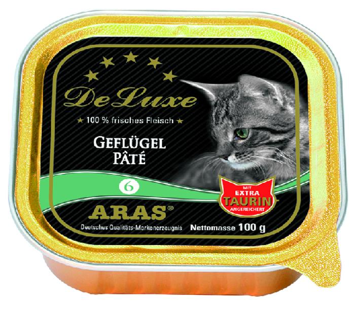 Консервы для кошек Aras Premium DeLuxe, паштет с домашней птицей, 100 г503106Консервы для кошек Aras Premium DeLuxe - корм для самых привередливых кошек, сочетающий в себе высокое качество ингредиентов, жизненно важные питательные вещества, а также превосходный вкус. Корм произведен в Германии по специальной технологии, схожей с технологией Sous Vide, из продуктов, пригодных в пищу человека. При изготовлении сохраняются все натуральные витамины и минералы. Это достигается благодаря бережной обработке всех ингредиентов при температуре менее 80°С. Такая бережная обработка продуктов не стерилизует продуктовые компоненты. Благодаря этому корма не нуждаются ни в каких дополнительных вкусовых добавках и сохраняют все необходимые полезные вещества. Особенности корма Aras Premium DeLuxe: - изготовлен из 100% свежего мяса; - без химических красителей, усилителей вкуса, искусственных консервантов и химических добавок; - из 100% свежих ингредиентов: мясо, овощи и зерновые; - сохранение натуральных витаминов в процессе изготовления; - гарантия свежести; - с дополнительной порцией таурина. Состав: свежее мясо индейки и утки 98%, минералы 2%, таурин 150 мг/кг. Пищевая ценность: белки 10,2%, жиры 5,3%, зола 2,4%, клетчатка 0,3%, влажность 79,9%.Товар сертифицирован. Чем кормить пожилых кошек: советы ветеринара. Статья OZON Гид